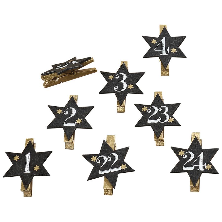 24 Holzklammern mit Zahlen von 1 bis 24