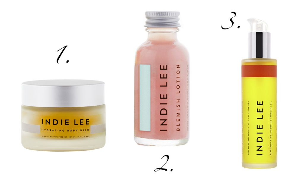 Indie Lee: 1. Hydrating Body Balm, 2. Blemish Lotion, 3. Moisturizing Oil